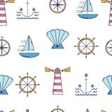 Nautical seamless pattern with linear style elemtns. royalty free stock photography