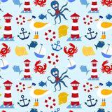Nautical seamless pattern. Seamless pattern with marine elements Royalty Free Stock Photography