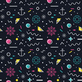 Nautical seamless pattern in memphis style. Nautical seamless pattern with anchors, steering wheels, lifebelts, fishes and with abstract geometric shapes in Royalty Free Stock Photos