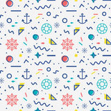 Nautical seamless pattern in memphis style. Nautical seamless pattern with anchors, steering wheels, lifebelts, fishes and with abstract geometric shapes in Royalty Free Stock Image