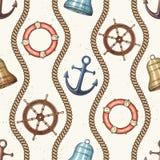 Nautical seamless pattern. Stock Photo