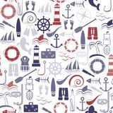 Nautical seamless pattern. Line art style. Vector illustration Stock Images