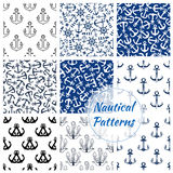 Nautical seamless pattern of navy anchor, helm. Nautical patterns set. Vector seamless marine background of ship anchor, sailor helm, beacon lighthouse. Navy Royalty Free Stock Photo