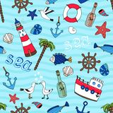 Nautical seamless pattern in retro style Stock Photography