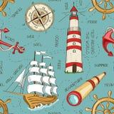 Nautical seamless pattern stock illustration