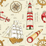 Nautical seamless pattern vector illustration