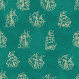 Nautical seamless pattern with sailboats and wind compass. Seamless nautical background with sailboats, treasure island and wind compass. Endless vector Stock Photo