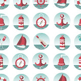 Nautical seamless pattern with sea elements Royalty Free Stock Photo