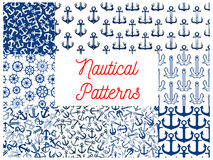 Nautical seamless pattern set with anchor and helm Royalty Free Stock Image