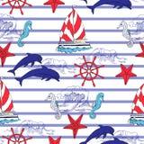 Nautical seamless pattern Royalty Free Stock Photo