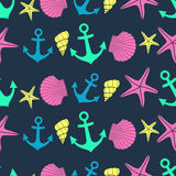 Nautical seamless pattern with starfish, shell, anchor on dark background. Stock Images