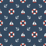 Nautical seamless pattern. Royalty Free Stock Photo