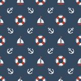 Nautical seamless pattern. Summer seamless pattern. Nautical seamless pattern with anchors, sailing boat, yachts Royalty Free Stock Photo