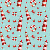 Nautical seamless pattern. Vector illustration. Stock Photo