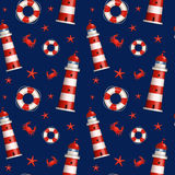 Nautical seamless pattern. Vector illustration. Royalty Free Stock Photo