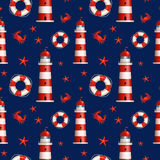Nautical seamless pattern. Vector illustration. Royalty Free Stock Images