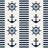 Nautical seamless pattern. Vector illustration. Stock Photos