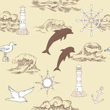 Nautical seamless pattern. With and wheels and  dolphins. Hand drawn elements for summer holidays.Travel, sea and ocean. Vector Illustration Stock Image