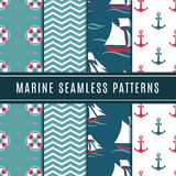 Nautical seamless patterns for kids. Marine vector background set with sailboat, sea anchor and yacht. Sailboat in wave ocean, marine yacht travel in sea Stock Images