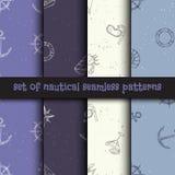 Nautical seamless patterns set. Royalty Free Stock Photos