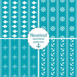 Nautical seamless patterns. Vector collection. Set of 4 nautical seamless patterns in blue and white colors. Vector illustration Stock Images