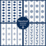 Nautical seamless patterns. Vector collection. Set of 4 nautical seamless patterns in navy blue and white colors. Vector illustration Royalty Free Stock Photo