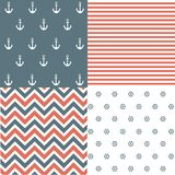 Nautical seamless patterns. And vector illustration Royalty Free Stock Images