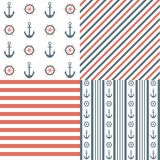 Nautical seamless patterns. And vector illustration Royalty Free Stock Photography