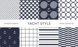 Nautical seamless patterns. Yacht style designn