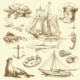 Nautical set Stock Images