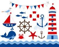 Free Nautical Set Royalty Free Stock Image - 38350746