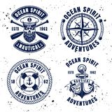 Nautical set vector vintage emblems or badges. Nautical set vector emblems, labels, badges or logos in vintage style on background with removable textures stock illustration