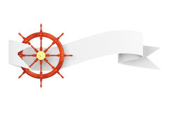 Nautical Ship Steering Wheel with Ribbon Banner. 3d Rendering Stock Images