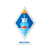 Nautical ship vector logo concept illustration. Flat style design. Marine transport sign badge. Sea boat symbol. Ocean liner. Stock Images
