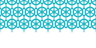 Nautical ship wheels abstract blue horizontal seamless pattern background Stock Photo