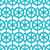 Nautical ship wheels abstract blue seamless pattern background Stock Photo