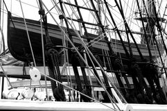 Nautical Ships Rigging and ancore. Black and White Rigging of an old sailing ship Stock Photos