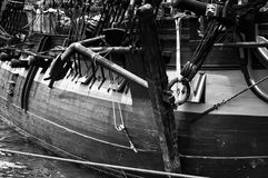 Nautical Ships Rigging and ancore. Black and White Rigging of an old sailing ship Stock Images
