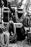Nautical Ships Rigging. Black and White  of an old sailing ships rigging Royalty Free Stock Photos