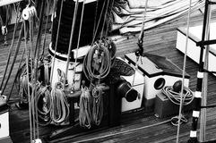 Nautical Ships Rigging. Black and White  of an old sailing ships rigging Stock Image