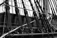 Nautical Ships Rigging. Black and White  of an old sailing ships rigging Royalty Free Stock Photography