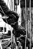 Nautical Ships Rigging. Black and White Rigging of an old sailing ship Royalty Free Stock Image