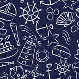 Nautical sketch doodle vector icons seamless blue pattern Royalty Free Stock Photos