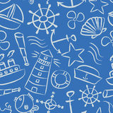 Nautical sketch doodle vector icons seamless light blue pattern eps10. Nautical sketch doodle vector icons seamless light blue pattern Royalty Free Stock Photography