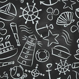 Nautical sketch doodle vector icons seamless pattern eps10 Stock Image