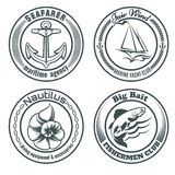 Nautical Stamps Set Stock Image