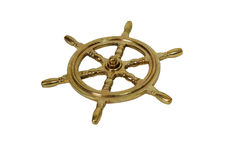 Nautical Steering Wheel. Made of brass against white background Stock Images