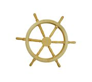 Nautical Steering Wheel. Wooden nautical steering wheel against white background-Path orig size Royalty Free Stock Images