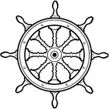Nautical Steering Wheel cartoon Vector Clipart. Created in Adobe Illustrator in EPS format for illustration use in web and print Royalty Free Stock Images