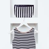 Nautical style fashion. Women's clothing Royalty Free Stock Images